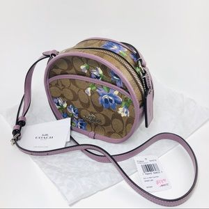 Coach Round Floral Purple Purse